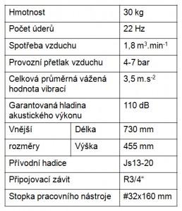 Bourací kladivo BKA 30 parametry