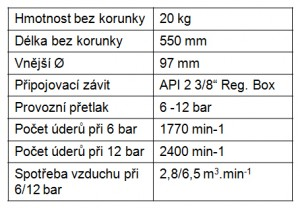 Ponorné vrtací kladivo VKP 105K parametry