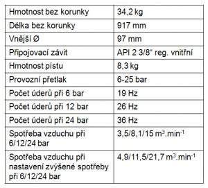 Ponorné vrtací kladivo VKP 110-1 parametry